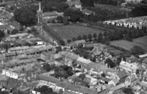 Arial photo - predating the new Rectory (1962) and Church Road widening scheme (1967).