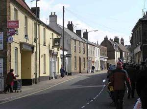 Looking up Bridge Street, the main street running up the hill - Downham, from the Saxon, 'settlement on the hill'.