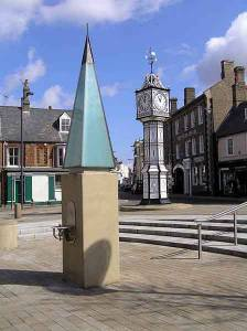 Town Clock, new Pump & Swan Hotel (Kings John & Charles I stayed in a Downham inn of this name)