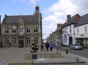 Looking down Bridge Street - Town Square and Town Hall. The Crown Hotel is the white building on the right.