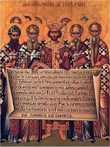 Icon depicting the Fathers of the First Ecumenical Council at Nicaea (AD 325) holding the Nicene Creed