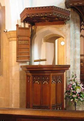 Canopied pulpit, accessed by original doorway to Rood Loft