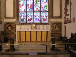 General view of the east end of the Chancel, with the addition of the Tabernacle (Easter 2007)