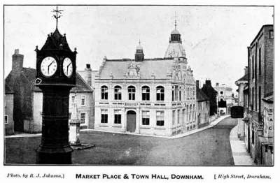 The (old) Market Place and Town Hall, c.1950.  Note :  the clock's original
